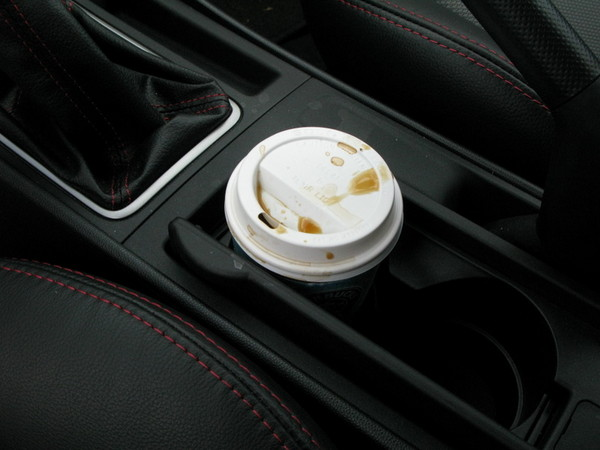 Mazdaspeed 3 review - spilled coffee