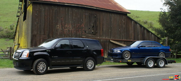 GMC Yukon Hybrid towing Tony's M3