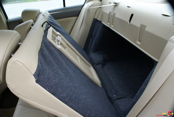 fold-down rear seat extends trunk space