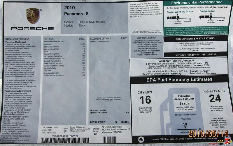 2010 Porsche Panamera S Monroney