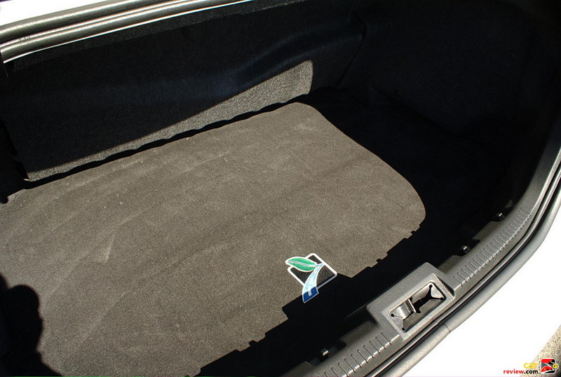9 cubic feet of trunk space shared with hybrid battery