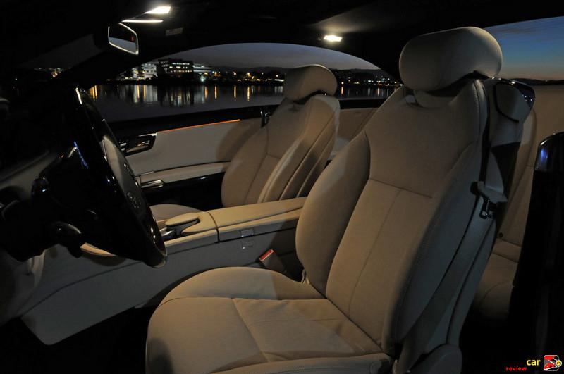 Amber courtesy lighting on the doors illuminates seat controls